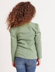Lindex - Top rib puffsleeve - langärmelig - green - 2