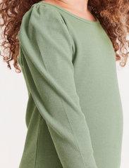 Lindex - Top rib puffsleeve - langärmelig - green - 4