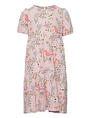 Dress tricot s s puffsleeve - PINK