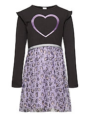 Dress l s with leo mesh skirt - LILAC