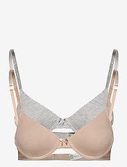 Lindex - Bra tshirt 2pack - t-shirt bras - grey - 0