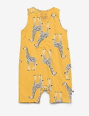 Lindex - Romper aop Giraffe - krótki rękaw - dark dusty yellow - 0