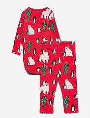 Lindex - Set Body leggings Funny xmas - ensembles - red - 1