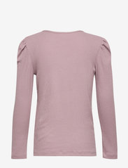 Lindex - Top rib puffsleeve - einfarbiges langarm-shirt - lilac - 1