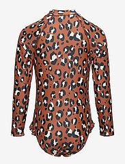 Lindex - Swimsuit UV aop leo dot long s - swimsuits - brown - 1