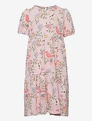 Lindex - Dress tricot s s puffsleeve - kleider - pink - 0