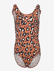 Lindex - Swimsuit BG aop leo w knots - swimsuits - brown - 0