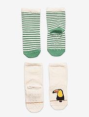 Lindex - Sock 2p Baby tucan and stripe - skarpety & rajstopy - green - 0