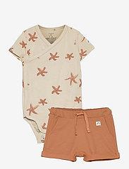 Set wrap shorts jellyfish star - BROWN
