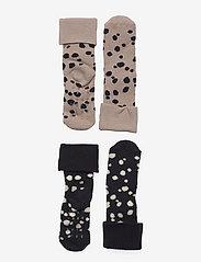 Lindex - Sock 2p Baby with dots in terr - skarpetki - beige - 0