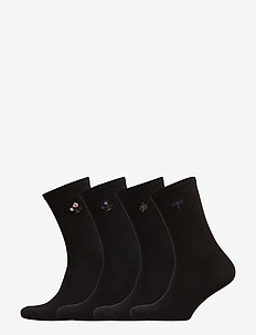 Sock 4 p New Embroidery - BLACK