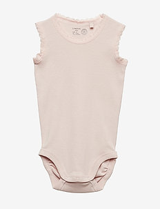 Sleeveless Bodysuit with Lace - LIGHT DUSTY PINK