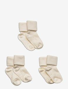 Sock 3p ribb shaft double cuff - skarpety & rajstopy - light dusty white