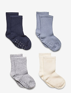 Sock Bab 4p ribb sock - anti-rutsch socken - dusty blue
