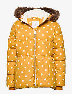 Patterned puffer jacket with fake fur - DK DUSTY YELLOW