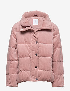 Patterned puffer jacket with fake fur - DUSTY PINK