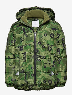 Green puffer jacket with excavators - DARK GREEN