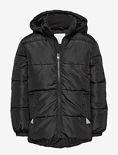 Padded jacket with reflective fabric - BLACK
