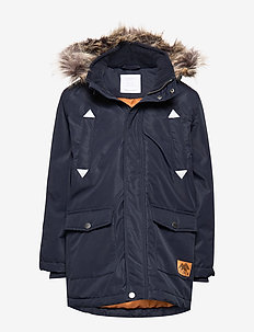 Navy blue padded parka - DARK NAVY