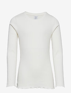 Ribbed long sleeve top - LIGHT DUSTY WHITE