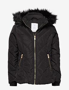 Black padded quilted jacket with fake fur trim - BLACK