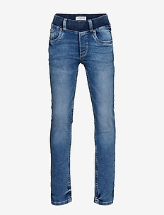 Narrow pull-on jeans in denim jersey - LIGHT DENIM