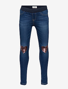 Slim fit jeggings with sequin hearts - DENIM
