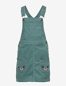 Dungaree dress cord w frill - DUSTY TURQUOISE