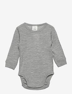 Body baby merino uni solid - długie rękawy - grey melange