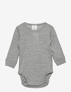 Body baby merino uni solid - manches longues - grey melange