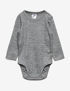 Body baby merino uni solid - GREY MELANGE