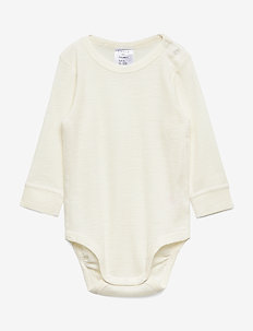 Body baby merino uni solid - manches longues - off white