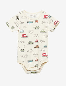 Short sleeve bodysuit with cars - LIGHT BEIGE