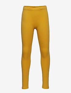 Leggings with brushed inside - DARK DUSTY YELLOW