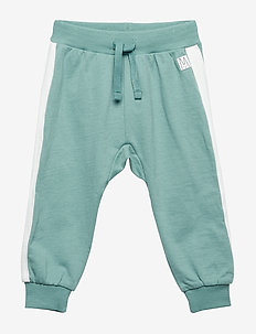 Sweatpants with white side stripes - DUSTY TURQUOISE