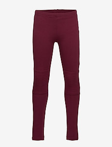 Leggings with brushed inside and reinforced knees - DARK DUSTY RED