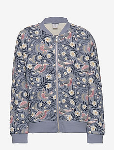 Patterned soft bomber jacket - LIGHT DUSTY BLUE