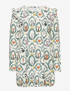 Tunic with animal pattern and frill shoulders - LT BEIGE