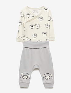 Set with bodysuit and trousers with sheep - LIGHT GREY