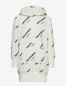 Long white hooded sweatshirt with text print - OFF WHITE