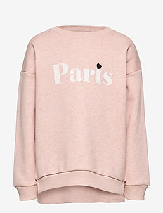 Sweatshirt with text and brushed inside - DUSTY PINK