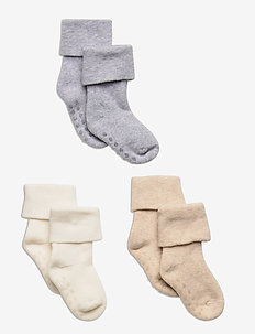 Sock 3p terry with soft cuff - skarpety & rajstopy - beige
