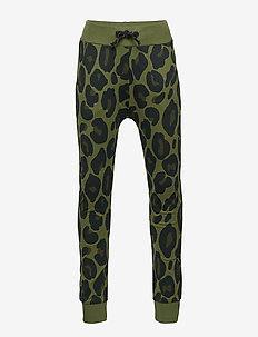Green sweatpants with leopard print - KHAKI