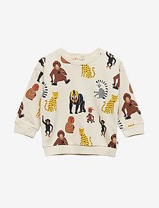 Sweatshirt with monkeys and leopards - LIGHT BEIGE