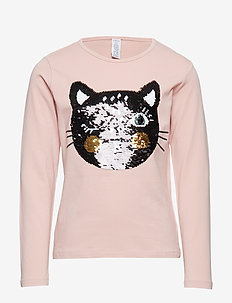 Pink top with cat in reversible sequins - DUSTY PINK