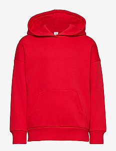 Hooded sweater with brushed inside - RED