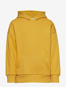 Hooded sweater with brushed inside - YELLOW