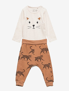 Set with bodysuit and trousers with cat motif - LIGHT BEIGE MELANGE