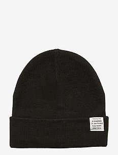 Cap knitted solid folded - BLACK