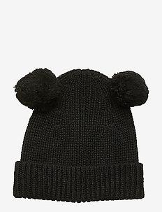 Cap knitted soft w 2 pom pom - BLACK